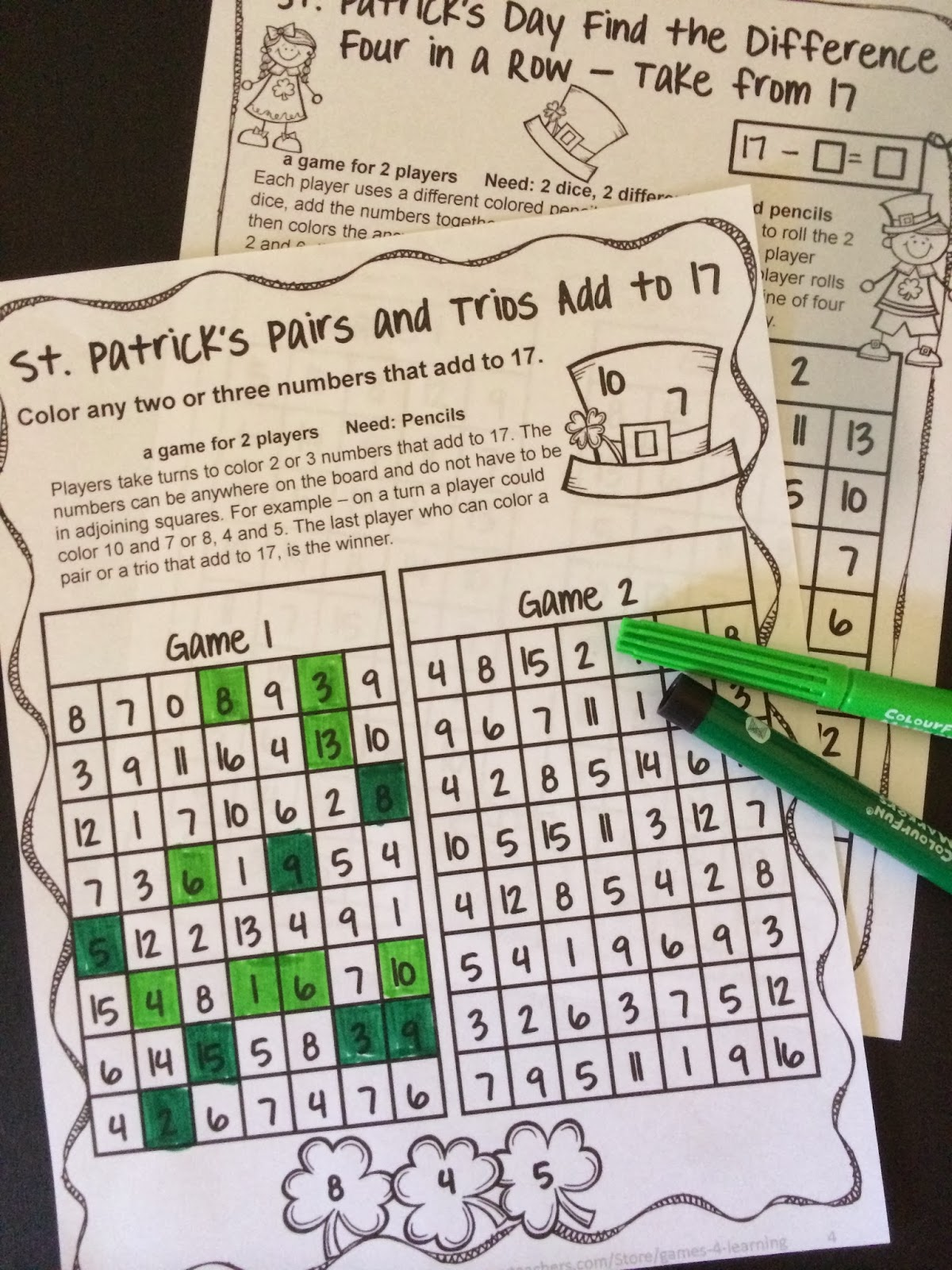 Fun Games 4 Learning St Patrick S Day Math Freebies